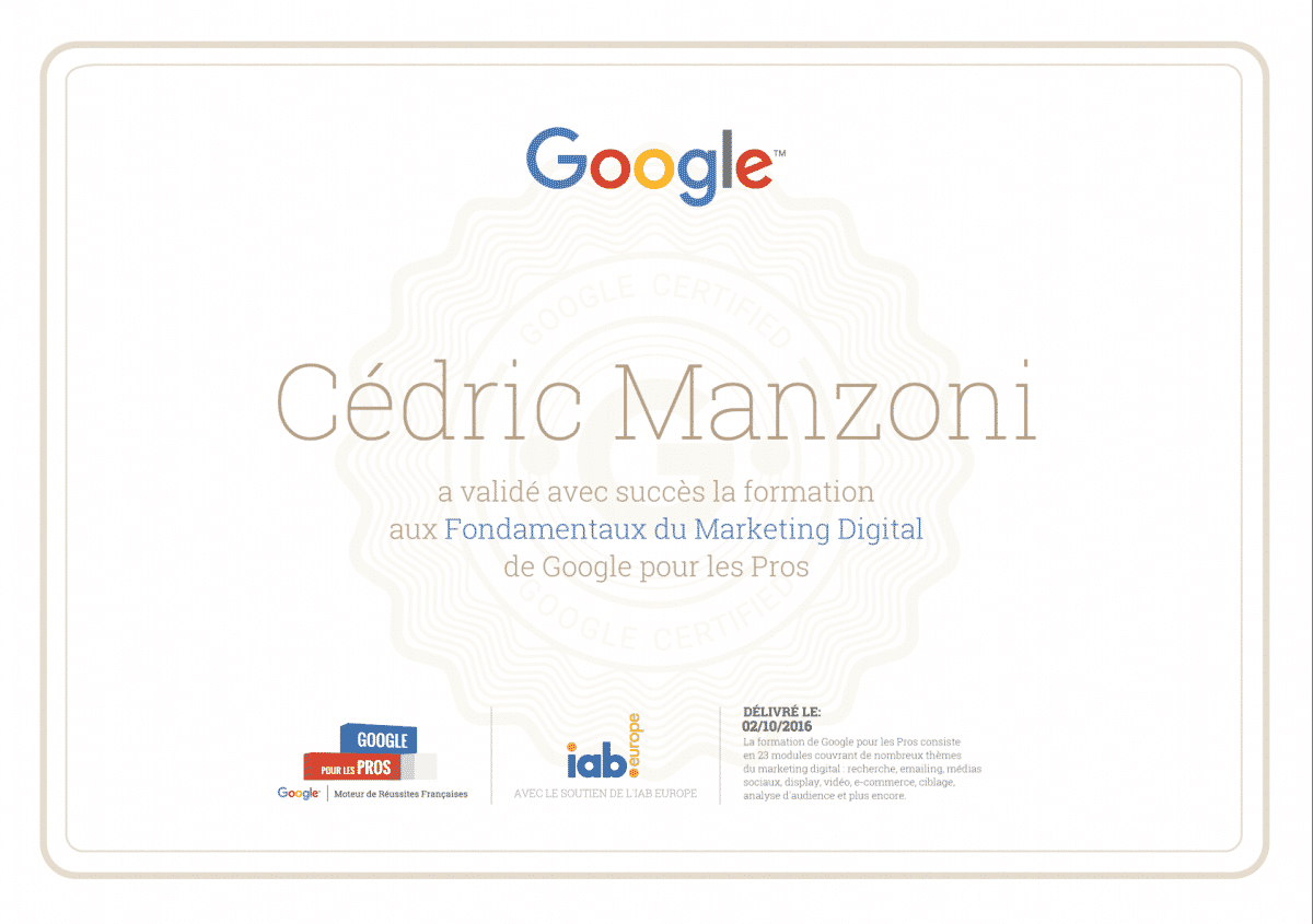 Image de la certification Google les fondamentaux du marketing digital de Cédric Manzoni
